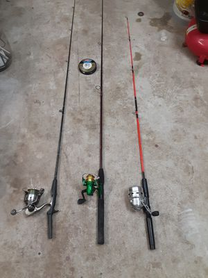 fishing poles kits (3 pack and spool line) for Sale in Katy, TX