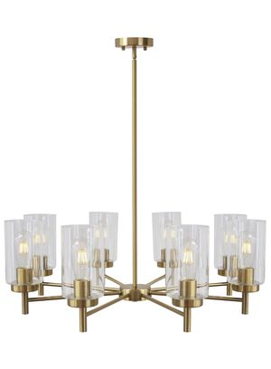 Vinluz 8-light chandelier contemporary modern clear glass shade pendant lamp brushed brass rustic dining room lighting fixture hanging adjustable wir for Sale in San Dimas, CA