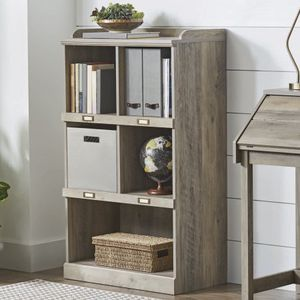 BHG Modern Farmhouse Versatile 5-Cube Storage Organizer with Name Plates, Rustic Gray Finish for Sale in Houston, TX