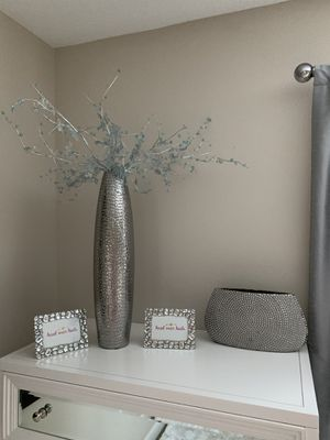Large Silver vase with diamond flowers - Z Gallerie for Sale in Oregon City, OR