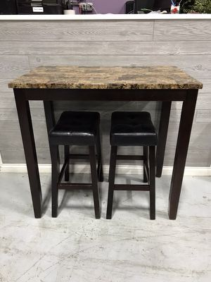 3-PIECE COUNTER HEIGHT GLOSSY PRINT MARBLE BREAKFAST TABLE WITH STOOLS for Sale in Columbus, OH