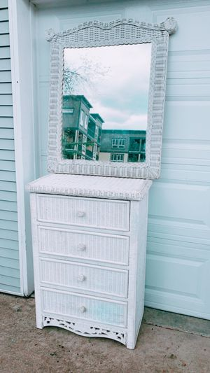 Wicker dresser and mirror for Sale in Portland, OR
