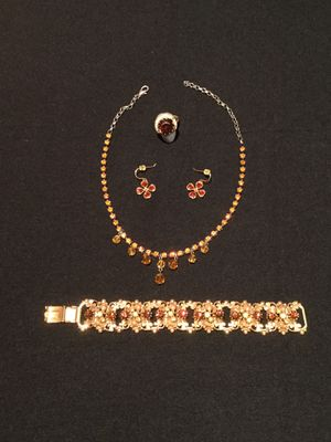 Custom jewelry with amber stones necklace, earrings, bracelet and ring for Sale in Houston, TX