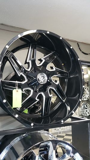 24x12 black hardcore rims 6 lug 6x139 6x5.5 6x135 on new rt 33 1250 24 for Sale in Phoenix, AZ