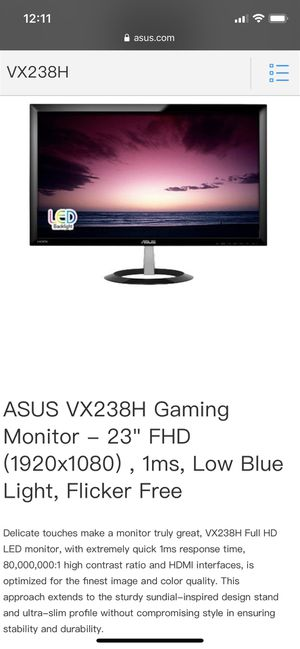 Asus Computer/Gaming Monitor for Sale in West New York, NJ