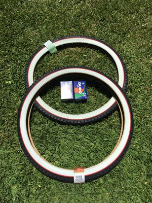 NEW Duro 26x2.125 Beach Cruiser Bike Bicycle Tires Whitewall w/ Red Line DIAMOND for Sale in Baldwin Park, CA