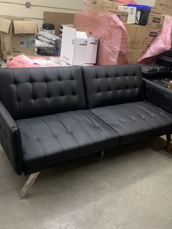 Black Leather Futon Couch Bed for Sale in Los Angeles,  CA