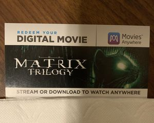 The Matrix Trilogy 4K UHD *DIGITAL CODE* The Matrix / The Matrix Reloaded /The Matrix Revolutions for Sale in El Dorado Hills, CA