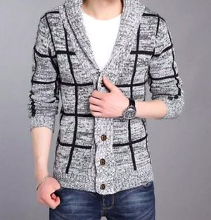 Mens Shawl Collar Gray Cardigan, Grey, Size M for Sale in Las Vegas, NV