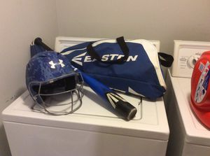 Size 30 bat with under armor helmet and face mask size 6 1/2-7 3/4 and Easton bag for Sale in Fairview, TN
