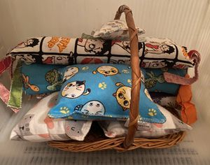 Kitty kickers cat toys n cat pillows basket for Sale in Washington Boro, PA