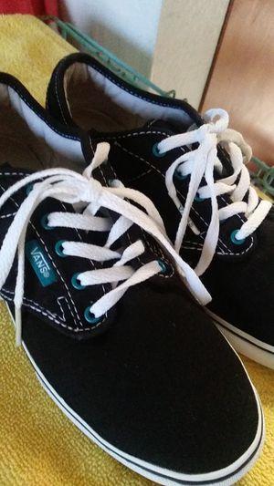 Size women 7 black vans teal bottom soles for Sale in Phoenix, AZ