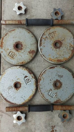 Weight set: dumbbells, curl/tri bar, 170 lbs for Sale in Industry, CA