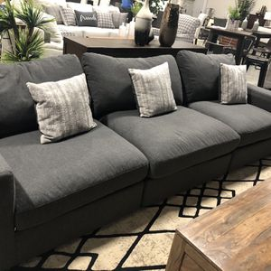3 PC Sofa Set Luxurious Grey Fabric Tufted Spacial Living Room Sofa Dining Room Sofa Couch Grey Family Room Couch Sofa SPACIAL COMFY COUCH for Sale in La Habra, CA