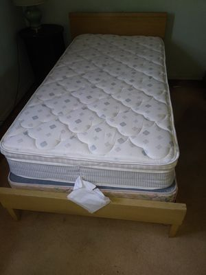 Complete blonde wood twin bed w/ mattress + box springs for Sale in St. Louis, MO