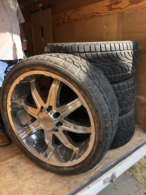 "24"" Tires with MiCanni Rims 3/4 ton Pick up for Sale in Dunnigan, CA"