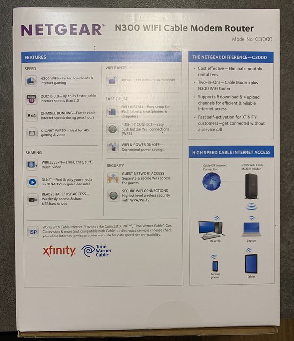 NETGEAR N300 WI-FI CABLE MODEM ROUTER