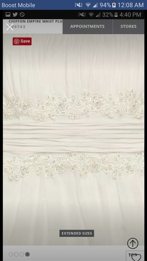 David's Bridal Collection Empire Waist chiffon wedding dress for Sale in DeKalb, IL