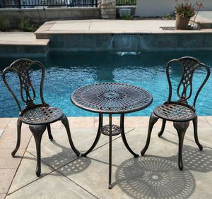 SHIPPING ONLY 3 Piece Antique Aluminum Patio Furniture Set Bronze Chairs and Table for Sale in Las Vegas, NV