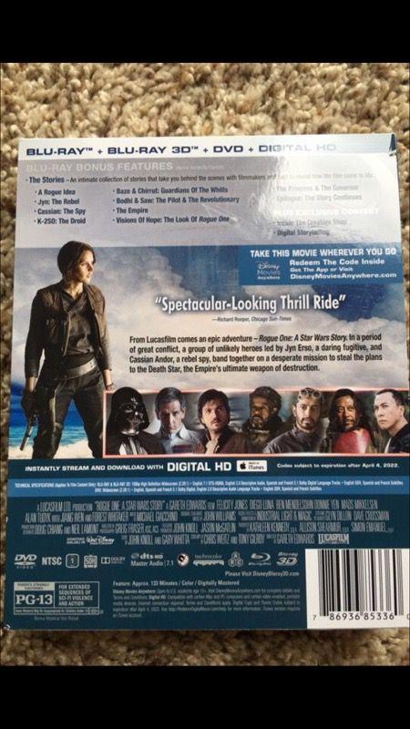 Star wars rogue one blu ray DVD