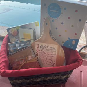 Gift Basket 6 Glasses,cheese Slice,glass Charms,bread Board,cheese Spreader Great Gift With Wicker Basket for Sale in St. Petersburg, FL