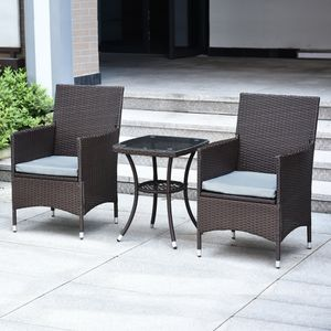 Mcombo 3 Pieces Patio Furniture Set Outdoor Wicker Rattan Dining Chairs Porch Backyard Bistro Brown Lawn Conversation Sofa Set With Gray Cushion and for Sale in Commerce, CA