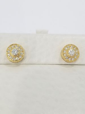 Black Friday Special Real 10k Yellow Gold .64CT Diamond Round Solitaire Halo Greek Key Earrings for Sale in Richmond, TX