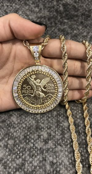 ORO LAMINADO CENTENARIO GOLD PLATED Mexican Coin & Rope Chain for Sale in Los Angeles, CA