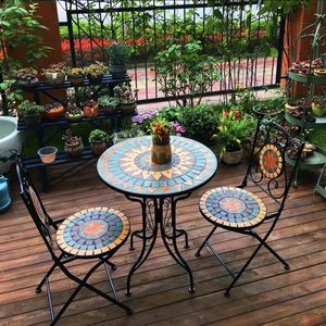 Round Side Accent Table Patio Plant Stand Porch Beach Theme Balcony Back Deck Pool Decor Metal Cobalt mosaics Top Indoor Outdoor Coffee End Table for Sale in La Mirada, CA