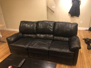 Black Leather Couch with 2 Recliners for Sale in Washington, DC