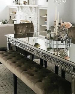 Z Gallerie Sophie Mirrored Dining Table, Benches And Chairs for Sale in Pasadena,  CA