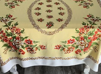 Beautiful vintage floral tablecloth. Colors are bright and vivid. Has two selvage edges and two hemmed sides. I see no holes, rips, tears or stains. for Sale in Lakewood,  WA