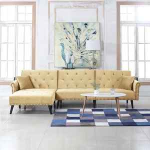Divano Roma Furniture Middle Century Modern Style Velvet Sleeper Futon Sofa, Living Room L Shape Sectional Couch with Reclining Backrest and Chaise Lo for Sale in Los Angeles, CA