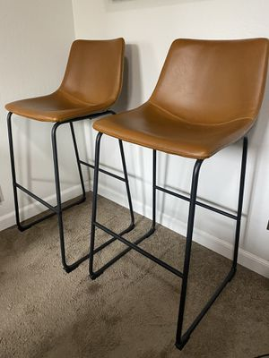 Whiskey brown faux leather bar stool chairs for Sale in Fresno, CA