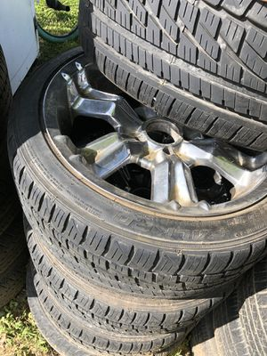 5 lug chrome chevy rims and low profile tires great tread. Also has 1 1/2 inch wheel spacers for Sale in Lebanon, TN