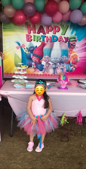 Trolls Birthday outfit and Birthday banner for Sale in Austin, TX