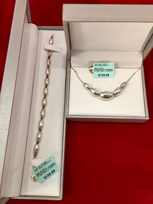 "*NEW W TAGS* Italian Sterling Silver Oval Bead Necklace 17"" & Bracelet for Sale in Phoenix, AZ"