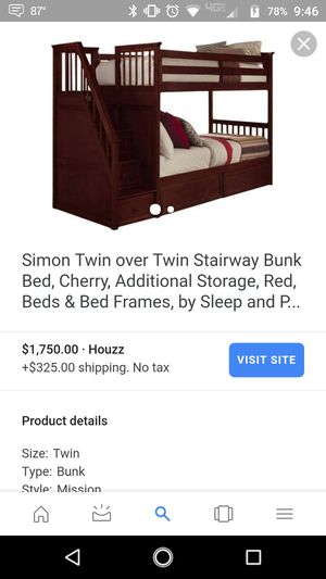 Cherrywood bunk bed for Sale in Zelienople, PA