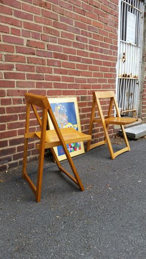 Danish/Mid-century modern folding chairs! 60's vintage! EMPORIUM OF OLDE TOWNE for Sale in Montgomery Village, MD
