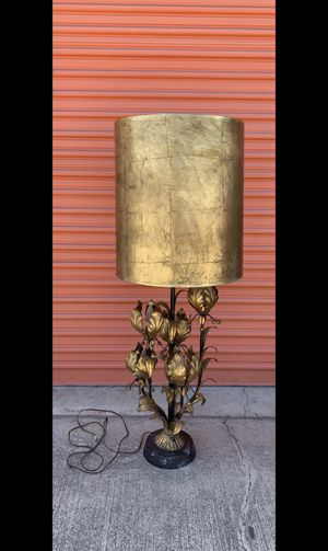 Rare Vintage Mid Century MCM Hollywood Regency Gilt Tole Floral Gold Leaf Metal Lamp, Base Made in Italy for Sale in Los Angeles, CA
