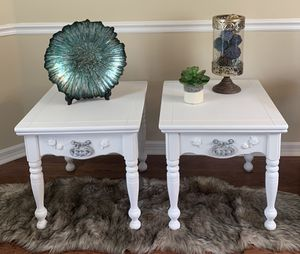 White chalk painted shabby chic end side console accent tables nightstand set pair for Sale in Land O Lakes, FL