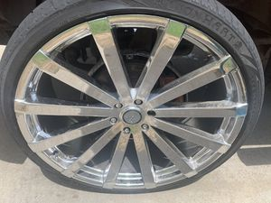 26 inch rims for sale three them had hair line cracks in them from pot holes had them professionally FIXED AND BALANCED AND NEW TIRES MOUNTED ON BY C for Sale in St. Louis, MO
