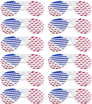 Brand New American Flag USA Patriotic Design Plastic Shutter Glasses Shades Sunglasses Eyewear for Party Props Holiday Celebration (12 Pack) for Sale in Queens, NY