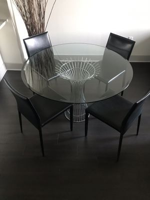 New dinning table with black leather chairs for Sale in West McLean, VA