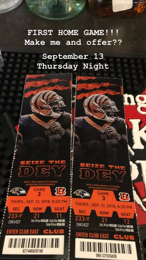 Sept 13 THURSDAY NIGHT FOOTBALL 2018 $125 for 2 club seat tickets. No waiting in line. Zoom in on pic for more details. for Sale in Columbus, OH
