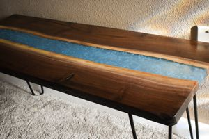 Bench Black Walnut with epoxy river for Sale in Vancouver, WA