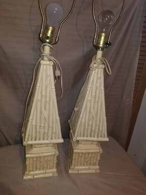 TWO NICE VINTAGE FAUX BAMBOO LAMPS * SHOW A MINOR CHIP IN THE LOWER SIDE** for Sale in Pompano Beach, FL