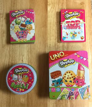Like new lot of 4 different Shopkins card games, barely or never used. for Sale in Etna, OH