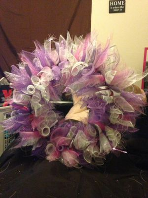 Beautiful spring mesh wreath for Sale in Rolla, MO