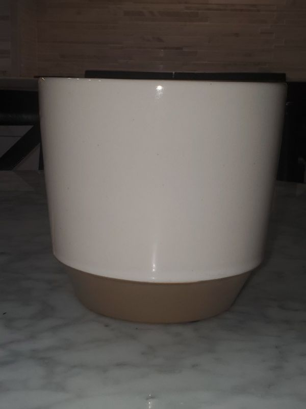 "Modern Colorblock Planter Off White Neutral Flower Pot 2 Available $15 Each 6"" in diameter by 5.75"" high"